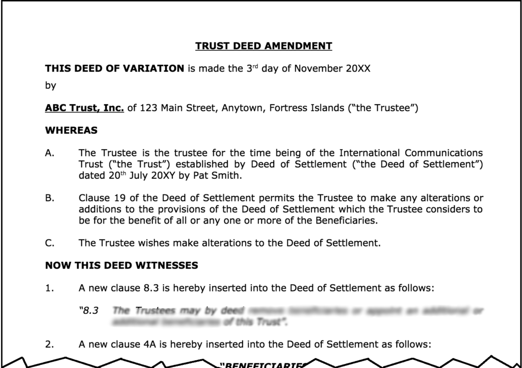 Trust Deed Amendment