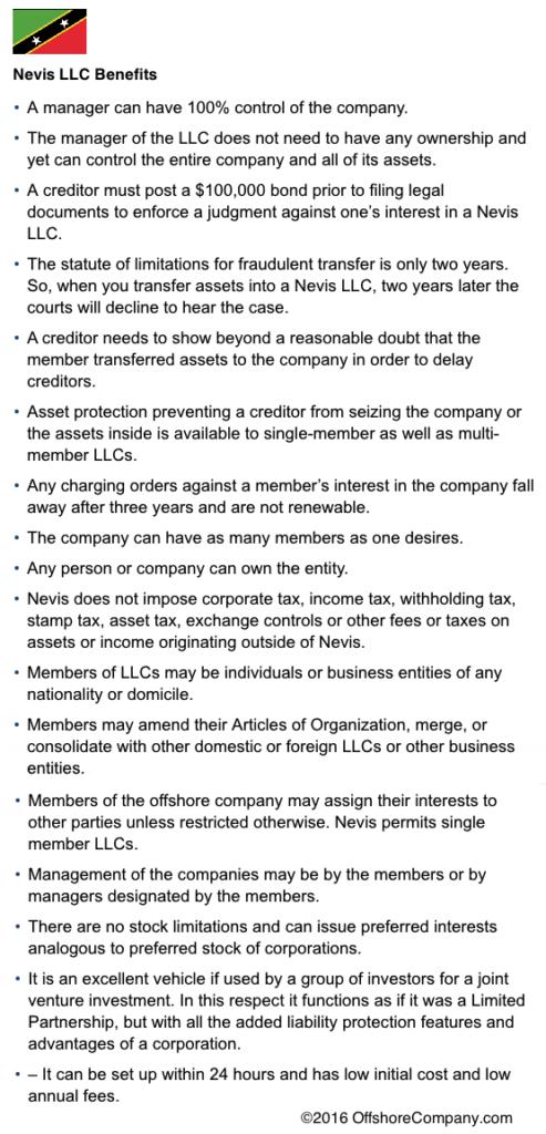 Nevis LLC Benefits