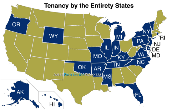Tenancy by the Entirety States Map