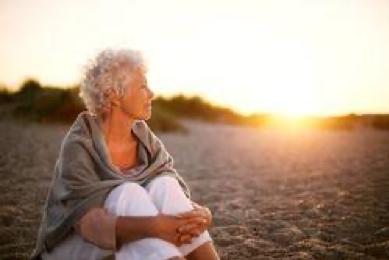 Older Lady Sunset Beach